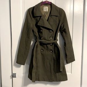 Old Navy Double Button Hunter Green Trench Coat